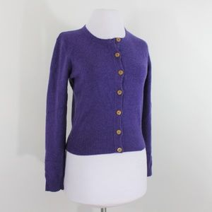100% Cashmere Barbara Wells Sweater Cardi Purple M